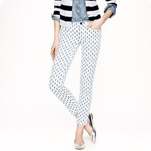 J. Crew matchstick ankle blue printed white jean